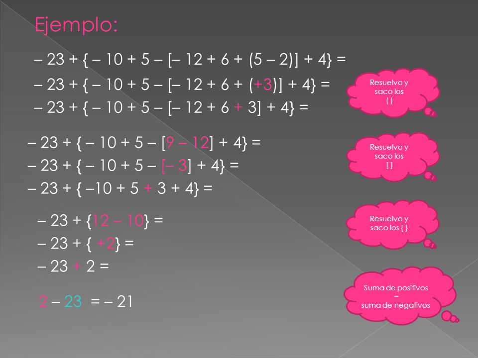 Ejemplo: – 23 + { – 10 + 5 – [– 12 + 6 + (5 – 2)] + 4} =